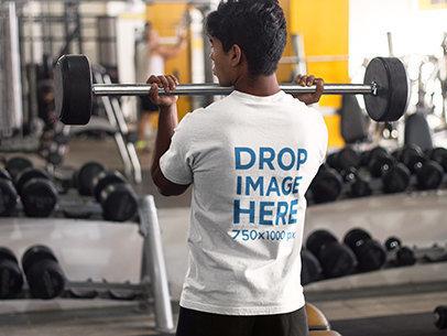 Man at the Gym Lifting Weights T-Shirt Mockup a8167