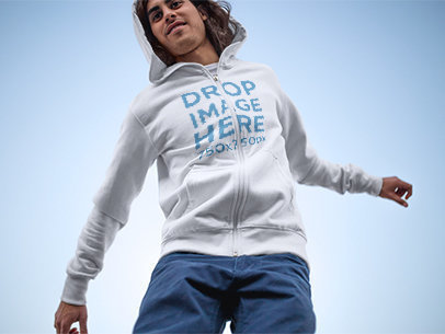 Hoodie Mockup Featuring a Young Man Jumping a8970