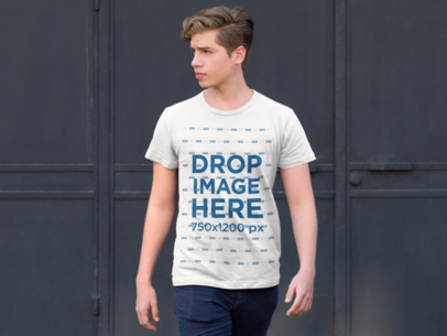 T-Shirt Mockup of a Young Man on the Street 9065