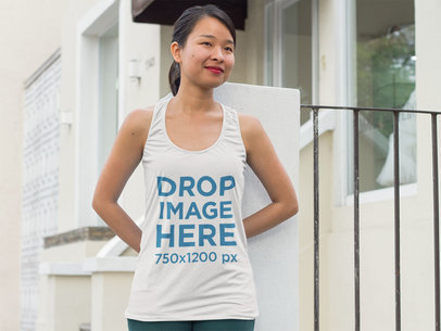 Asian Woman Standing Outside her House Tank Top Mockup a9438