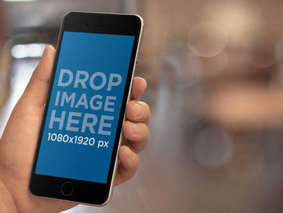 Mockup Template of an iPhone in a Library a9796
