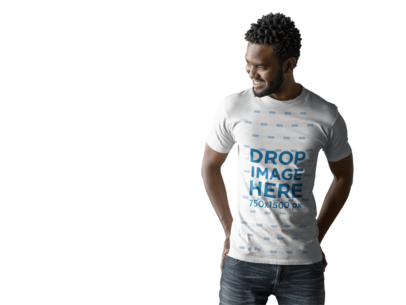 T-Shirt Mockup of an Attractive Young Man Smiling a9826