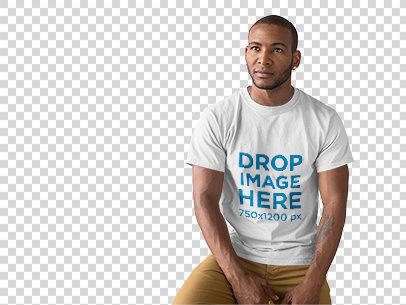 Handsome Black Man at a Photo Studio T-Shirt Mockup a9813