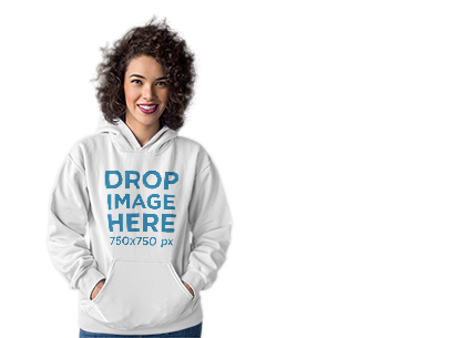 Hoodie Mockup of a Curly-Haired Woman at a Photo Studio a10271