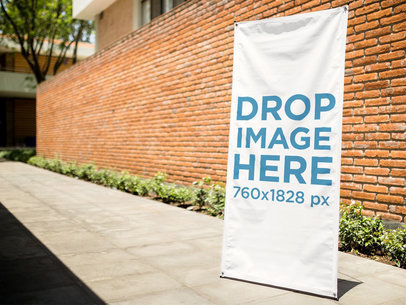 Mockup Template of a Banner on a Sidewalk a10338
