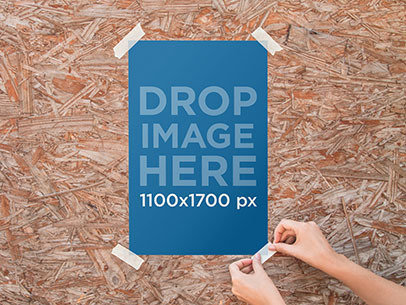 Poster Mockup Pasted to a Wooden Wall a10322