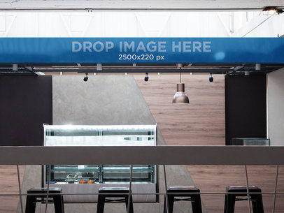Horizontal Banner Mockup at a Coffee Bar a10838