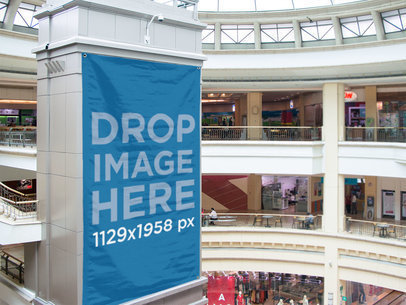 Big Vertical Banner Mockup at a Shopping Mall a10882