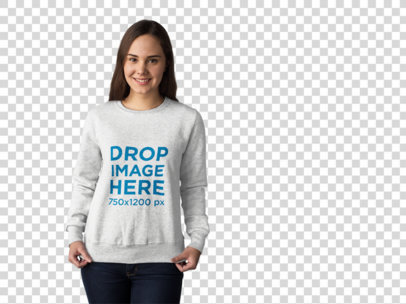 Crewneck Mockup of a Pretty Girl at a Photo Studio a10074