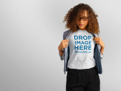 T-Shirt Mockup of a Pretty Lady With Curly Hair a11145