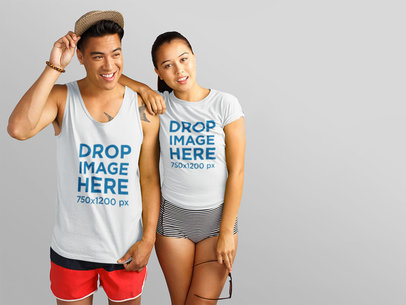 Tank Top Mockup of Young Asian Couple Over a White Background a11150