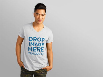 T-Shirt Mockup Featuring a Handsome Asian Model a11163