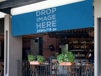 Horizontal Banner Mockup Over a Fine Dining Restaurant a10964