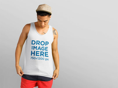 Young Asian Man in Summer Tank Top Mockup a11157