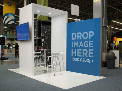 Expo Stand Mockup With a Vertical Banner a11242