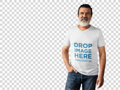 Elder Man Wearing a Simple T-Shirt Mockup Over a White Background a11311