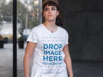Beautiful White Alternative Woman Wearing a T-Shirt Mockup a9257