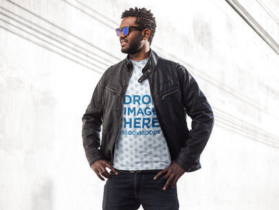 Sublimated Tee Mockup Featuring a Stylish Black Man With Sunglasses a9527
