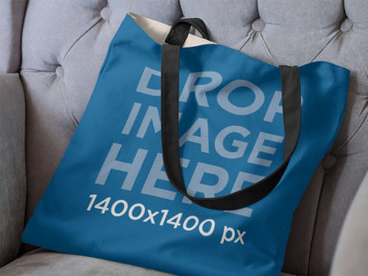 Canvas Tote Bag Mockup on a Couch a11504