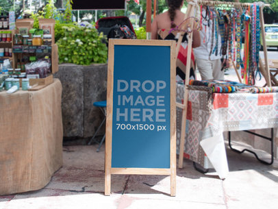 Banner Mockup in a Stand at a Local Market a11275