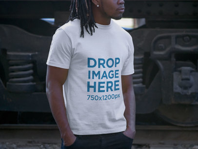Tshirt Mockup of a Man with Dreadlocks at Urban Setting a8767