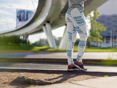 Sublimated Leggings Mockup of a Woman Outdoors a9469