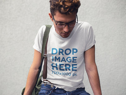 Mockup of a Young White Hipster Man Wearing a Tee With Shorts a11528