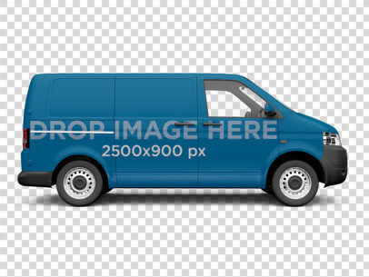Side View Car Wrap of a Van Over a Transparent Background 11651