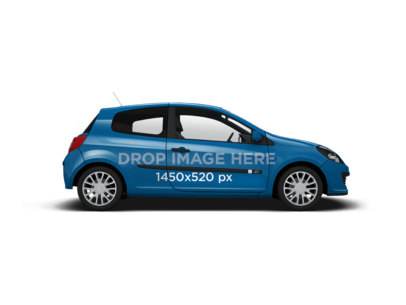 Side View of a Two Door Car Wrap PNG Mockup 11660