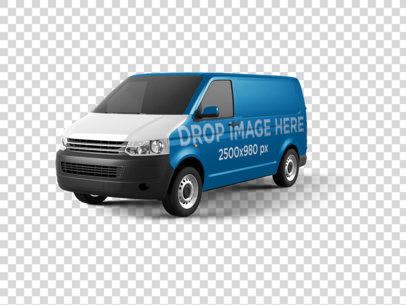 Car Wrap of a Van Mockup Over a PNG Background 11647