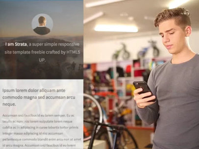 Guy on His iPhone in a Bike Shop App Demo Video 9851