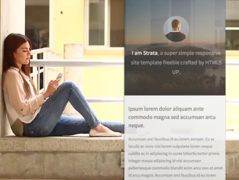 Woman Sitting on a Ledge Checking Her iPhone App Demo Video 9692