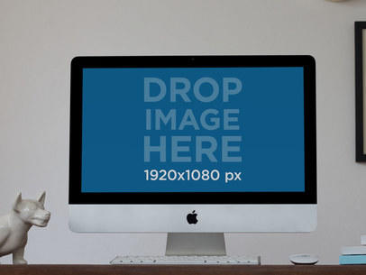 iMac Mockup on a Workdesk at a Creative Home Office a11781