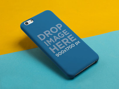 Mockup of an iPhone 6 Plus Case Over a Yellow and Blue Background a11796