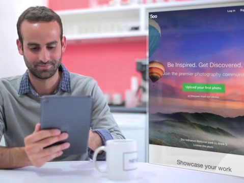 iPad App Demo Video of a Man in an Office Kitchenette a8776