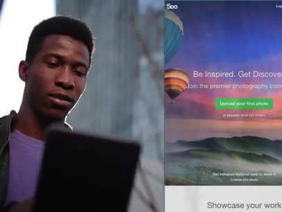 iPad App Demo Video of a Black Man Using His iPad in a City a8862