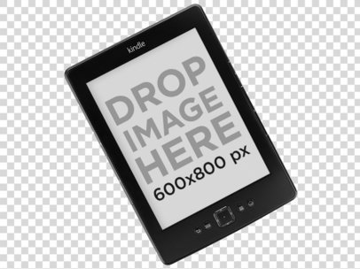 Top Shot of an Angled Kindle PNG Mockup a11817