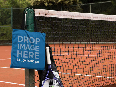 Tote Bag at a Tennis Court Mockup a11563