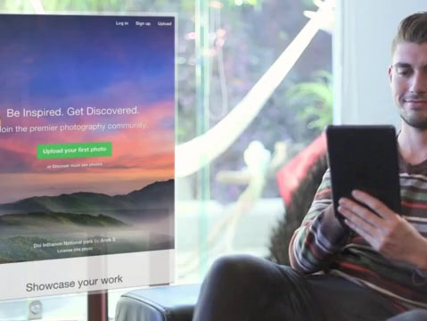 Young Man Using His iPad Sitting at Home App Demo Video a8782