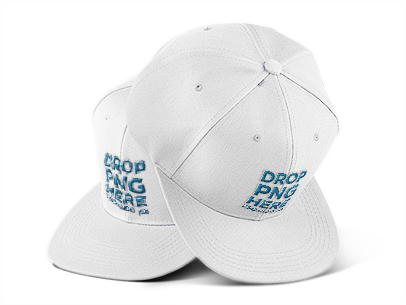 Two Snapback Hats Mockup Over a PNG Background 11752