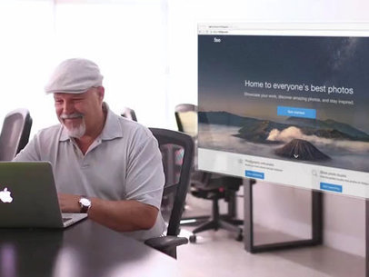 Elder Man Using a MacBook Pro at an Office App Demo Video  a10002
