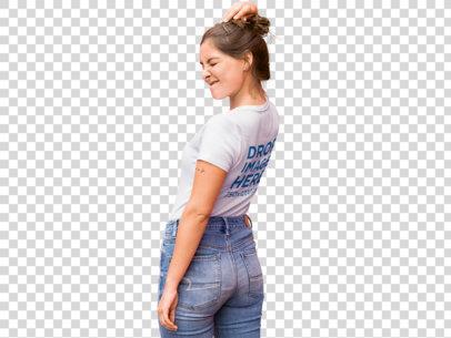 PNG T-Shirt Mockup of a Trendy Girl Winking b11850