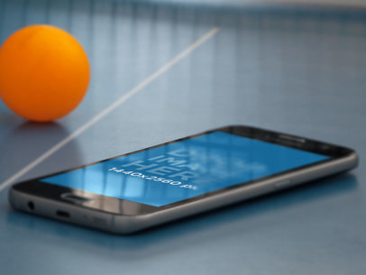 Samsung Galaxy Phone Mockup in a Sport's Court a12255