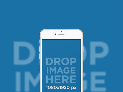 White iPhone 7 Plus in Portrait Position Backdrop Mockup (Front View) a12627