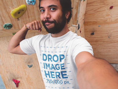T-Shirt Mockup of a Guy with a Beard Taking a Selfie a12922