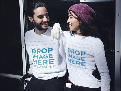 Crewneck Mockup Featuring a Young Couple in Winter Attire a13254