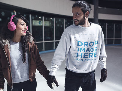 Men's Crewneck Mockup of a Young Couple Skating Together a13247