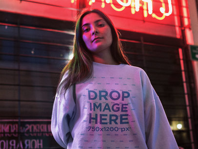 Pretty Girl at a Late Night Diner Wearing a Crewneck Mockup a12684