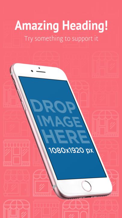Angled Pink iPhone 7 iOS Screenshot Maker