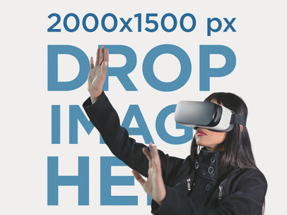Template of a Young Woman with Long Dark Hair and a Black Coat Trying to Touch Virtual Reality While Wearing an Oculus Gear vr Device a14204